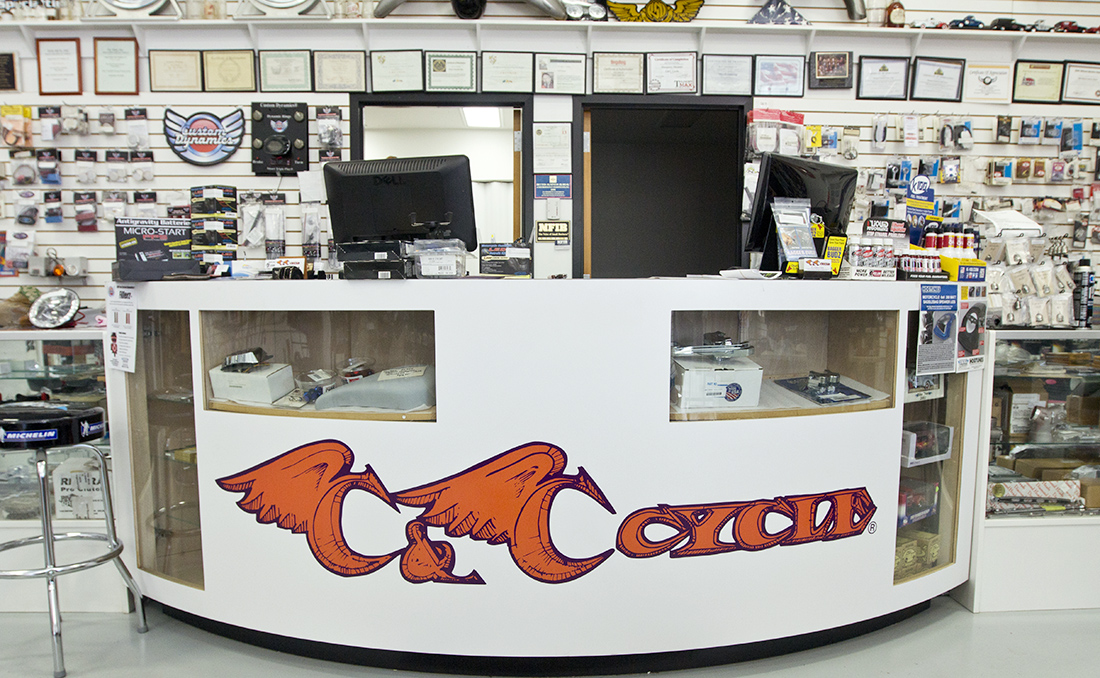 Front desk at C&C Cycle